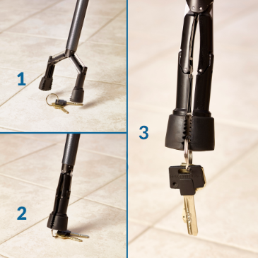 Walking cane with an attached grabber tool